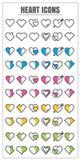Vettore rosa blu di verde giallo del blck di colore del cuore delle icone sulle sedere bianche Immagine Stock Libera da Diritti