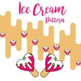 Vettore rosa di amore del modello di colore del gelato della stampa illustrazione vettoriale