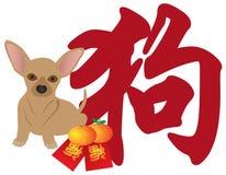 Vettore rosso dei pacchetti di Chihhuahua del cane cinese del nuovo anno Fotografia Stock
