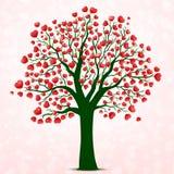 Vettore rosso dell'albero dei cuori Fotografia Stock Libera da Diritti