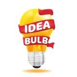Vettore rosso di concetto di idea del nastro della lampadina Immagini Stock Libere da Diritti