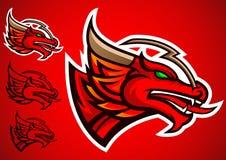 Vettore rosso di logo dell'emblema del drago Immagini Stock