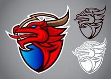 Vettore rosso di logo dell'emblema del drago dello schermo Fotografia Stock