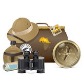 Vettore Safari Accessories Concept Fotografie Stock