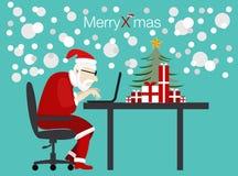 Vettore Santa che lavora al giorno di Natale Fotografia Stock