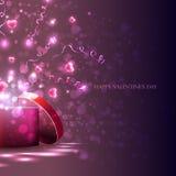 Vettore, scatola leggera e cuori rosa, fiamme, regalo per la festa Fotografia Stock