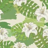 Vettore senza cuciture bianco grafico dell'illustrazione di schizzo del modello di colore verde del fiore del giglio Fotografia Stock