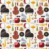 Vettore senza cuciture del fondo del modello di musica del jazzband degli strumenti musicali di jazz Fotografie Stock