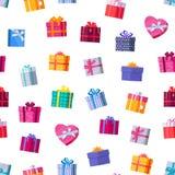 Vettore senza cuciture del modello dei contenitori di regalo nella progettazione piana illustrazione di stock