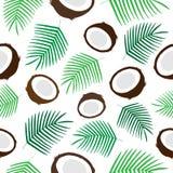 Vettore senza cuciture del modello della noce di cocco tropicale illustrazione di stock