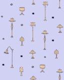 Vettore senza cuciture del modello delle lampade d'annata Fondo d'annata delle lampade di scarabocchio Immagini Stock Libere da Diritti