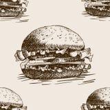 Vettore senza cuciture del modello di schizzo del panino dell'hamburger Immagini Stock Libere da Diritti