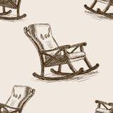 Vettore senza cuciture del modello di schizzo della sedia di oscillazione Fotografia Stock Libera da Diritti