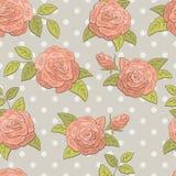 Vettore senza cuciture dell'illustrazione di schizzo del fondo del modello di colore rosa grafico del fiore di Rosa royalty illustrazione gratis