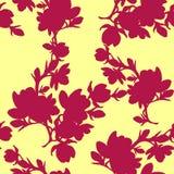 Vettore senza cuciture di rosso del fiore della magnolia del ramo della siluetta del modello illustrazione di stock