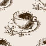 Vettore senza cuciture disegnato a mano del modello della tazza di caffè Immagine Stock Libera da Diritti