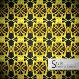 Vettore senza cuciture geometrico d'annata del modello dell'oro floreale della maglia di Lotus Immagini Stock Libere da Diritti