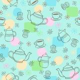 Vettore senza giunte del reticolo di ripetizione del tè e del caffè Fotografia Stock Libera da Diritti