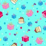 Vettore senza giunte del reticolo di ripetizione della festa di compleanno Immagine Stock
