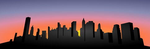 Vettore Siluetta di paesaggio urbano Tramonto Illustrazione scura della siluetta della città Siluetta di New York City Immagine Stock