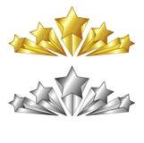 Vettore simbolo cinque stelle nei colori dell'argento e dell'oro Illustrazione isolata Adatto ad hotel e ad altro tasso di serviz Fotografia Stock Libera da Diritti