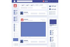 Vettore sociale dell'interfaccia della pagina di concetto della pagina Web illustrazione di stock
