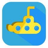 Vettore sottomarino giallo piano dell'icona Fotografia Stock Libera da Diritti