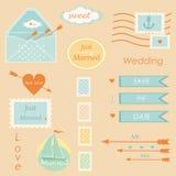Vettore stabilito degli elementi di vettore di nozze postali Immagini Stock