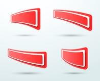 Vettore stabilito dei modelli 4 astratti della casella di testo di rosso 3d Fotografia Stock Libera da Diritti