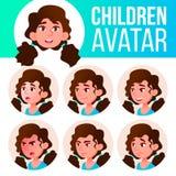 Vettore stabilito del bambino dell'avatar della ragazza Banco primario Affronti le emozioni Facial, la gente Acclamazione, abbast illustrazione vettoriale