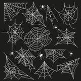 Vettore stabilito del nero di Halloween della ragnatela della ragnatela Fotografia Stock Libera da Diritti