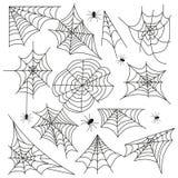 Vettore stabilito del nero di Halloween della ragnatela della ragnatela Immagini Stock Libere da Diritti