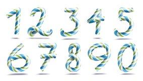 Vettore stabilito del segno di numeri numeri 3D Figure 1, 2, 3, 4, 5, 6, 7, 8, 9, 0 Colori di Natale Blu, a strisce verde Immagine Stock