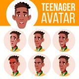 Vettore stabilito dell'avatar teenager del ragazzo nero Afroamericano Affronti le emozioni impressionabile Svago, sorriso Illustr royalty illustrazione gratis
