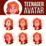 Vettore stabilito dell'avatar teenager della ragazza Affronti le emozioni impressionabile Svago, sorriso Illustrazione capa del f illustrazione vettoriale