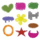 Vettore stabilito dell'icona differente multicolore di forma dell'etichetta di scarabocchio Fotografia Stock Libera da Diritti