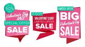 Vettore stabilito dell'insegna di vendita di giorno del biglietto di S. Valentino s Etichetta di sconto, speciale Valentine Offer Immagini Stock