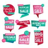 Vettore stabilito dell'insegna di vendita di giorno del biglietto di S. Valentino s 14 febbraio vendita Immagine Stock