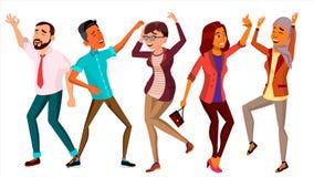 Vettore stabilito della gente di dancing Ballerino felice Poses Retro partito di discoteca Illustrazione piana isolata del fumett Fotografie Stock