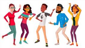 Vettore stabilito della gente di dancing Ballo della gente Muova verso musica Illustrazione piana isolata del fumetto Fotografia Stock
