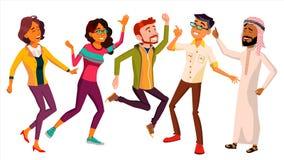 Vettore stabilito della gente di dancing divertente ed amichevole Emozioni allegre Illustrazione piana isolata del fumetto Fotografia Stock