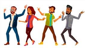 Vettore stabilito della gente di dancing Donna attiva, uomo Evento importante Illustrazione piana isolata del fumetto Immagini Stock