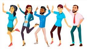 Vettore stabilito della gente di dancing Persone adulte nell'azione Progettazione di carattere Illustrazione piana isolata del fu Immagini Stock Libere da Diritti