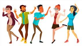 Vettore stabilito della gente di dancing Sorridere e si diverte Pose della libera circolazione Illustrazione piana isolata del fu Immagine Stock