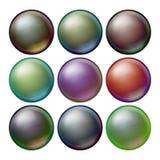 Vettore stabilito della sfera scura Sfere opache con le ombre Ellisse scuro astratto, palla, bolla, bottone, distintivo Isolato Fotografia Stock