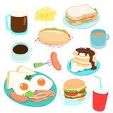 Vettore stabilito della varia prima colazione deliziosa Immagini Stock