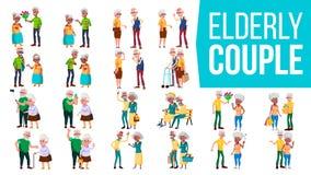 Vettore stabilito delle coppie anziane Nonno con la nonna lifestyle Famiglia anziana caratteri Grigio-dai capelli Concetto social illustrazione vettoriale
