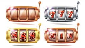 Vettore stabilito dello slot machine 777 Dorato, argento, bronzo Manifesto di gioco Oggetto di rotazione Modello a macchina di ro illustrazione di stock