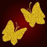 Vettore stabilito di scintillio dell'acquerello della siluetta dorata della farfalla Fotografie Stock Libere da Diritti