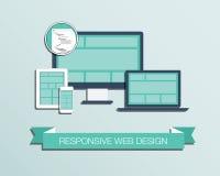 Vettore stabilito disegnato piano dell'icona di web design rispondente  Fotografia Stock